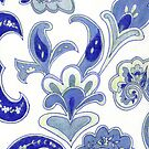 Hand Drawn Blue Paisley Flower  by Carrie Jackson