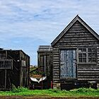 Black huts at Southwold Harbour, Suffolk by Karen  Betts