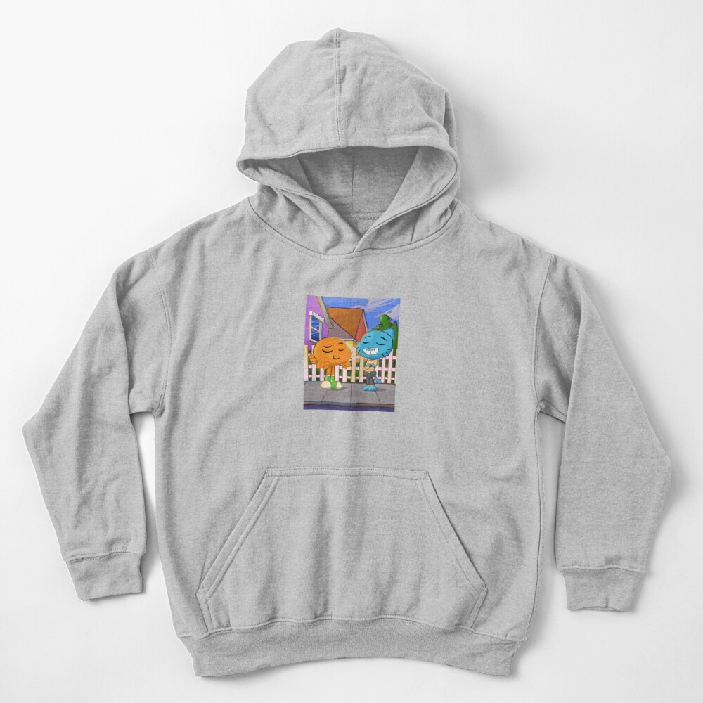 Gumball and Darwin with background Kids Pullover Hoodie
