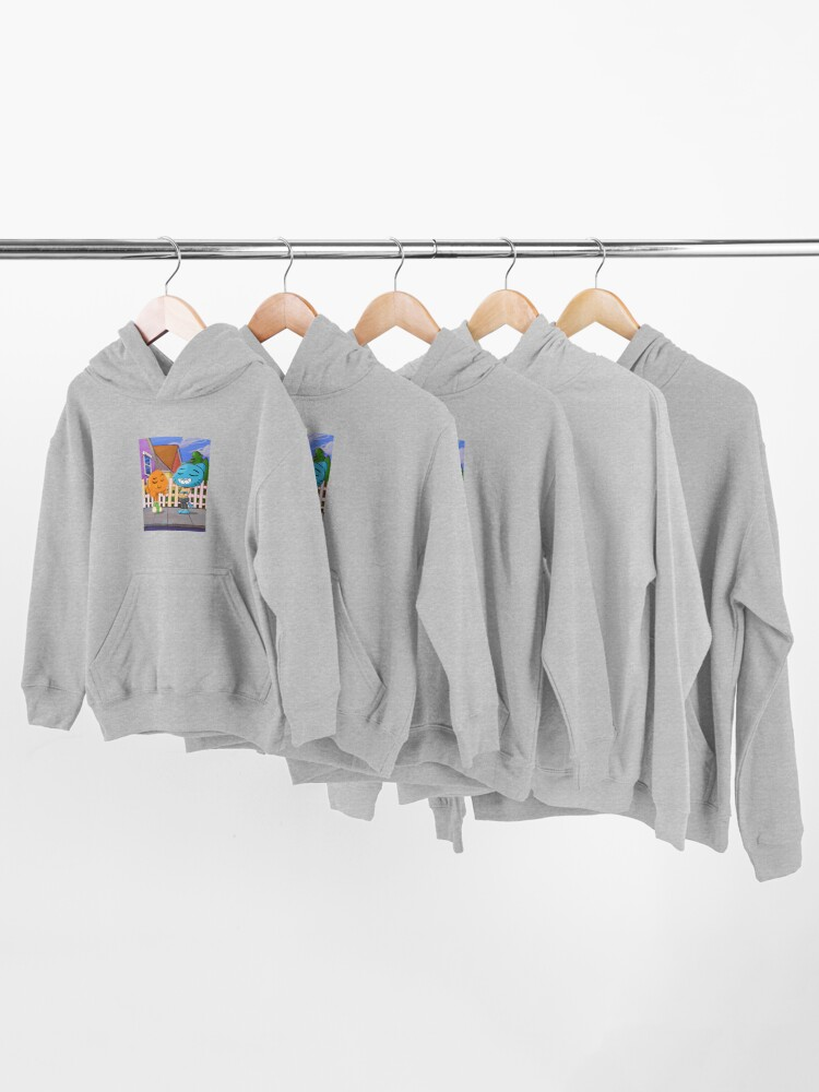 Alternate view of Gumball and Darwin with background Kids Pullover Hoodie