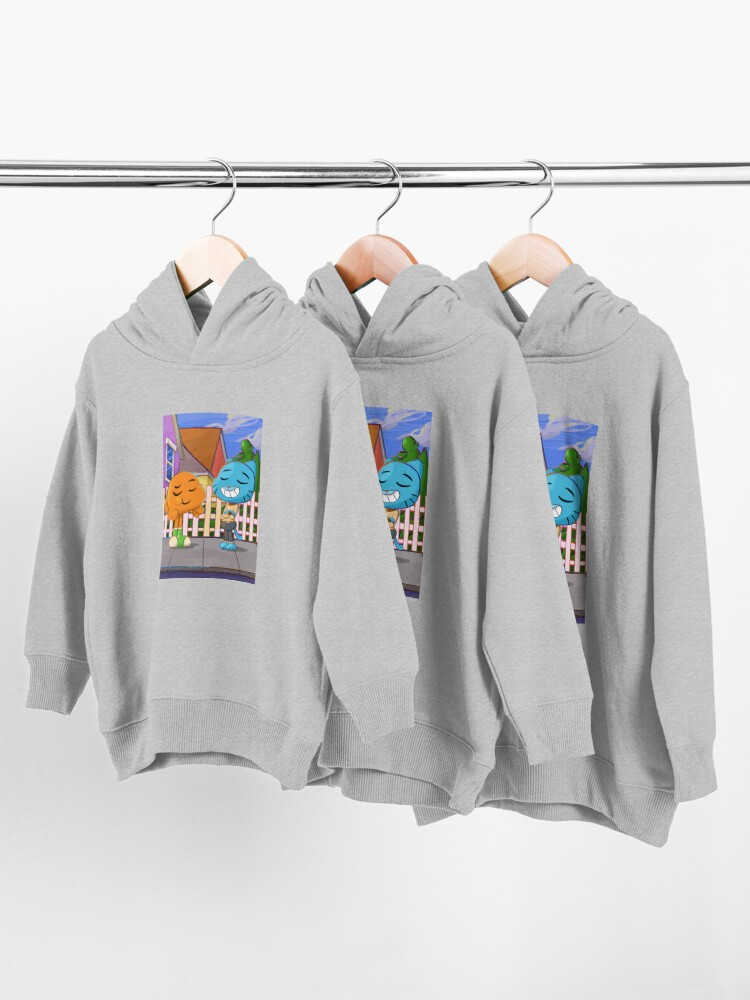 Alternate view of Gumball and Darwin with background Toddler Pullover Hoodie