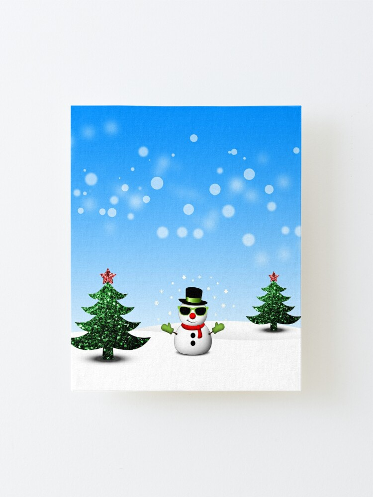 Cool Snowman And Sparkly Christmas Trees Mounted Print By Pldesign Redbubble