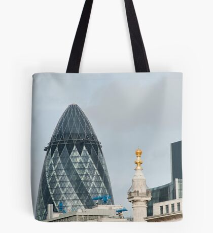 The Monument & Gherkin: Lonon, UK. Tote Bag