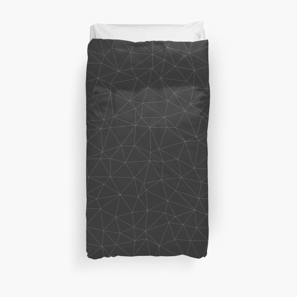 Elegant White Dark grey geometric mesh pattern Duvet Cover