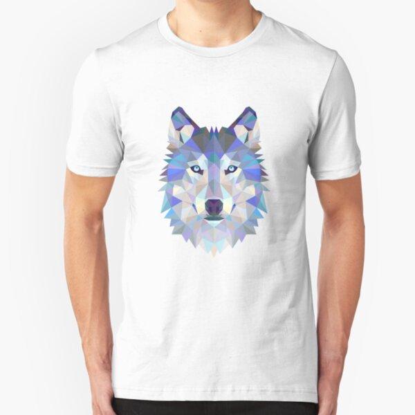 Geometrischer Wolf Slim Fit T-Shirt
