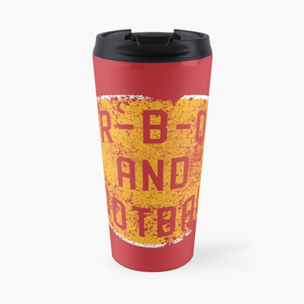 BBQ and Football - Red & Gold Travel Mug