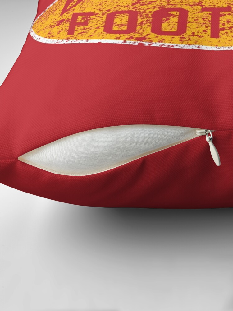 Alternate view of BBQ and Football - Red & Gold Throw Pillow