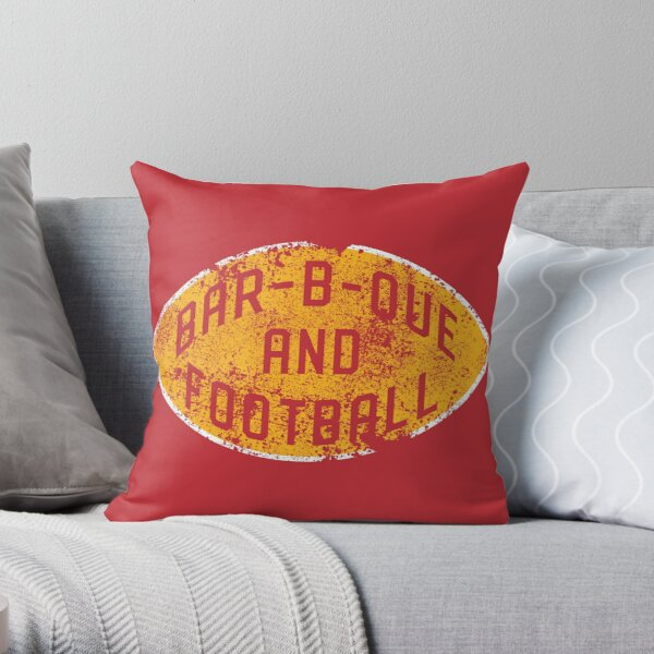 BBQ and Football - Red & Gold Throw Pillow