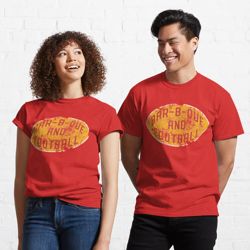 BBQ and Football - Red & Gold Classic T-Shirt