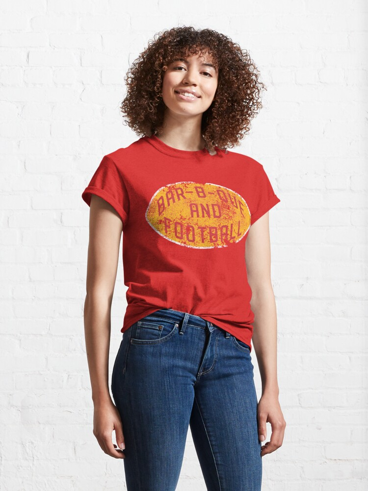 Alternate view of BBQ and Football - Red & Gold Classic T-Shirt