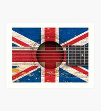 Old Vintage Acoustic Guitar with British Flag Art Print