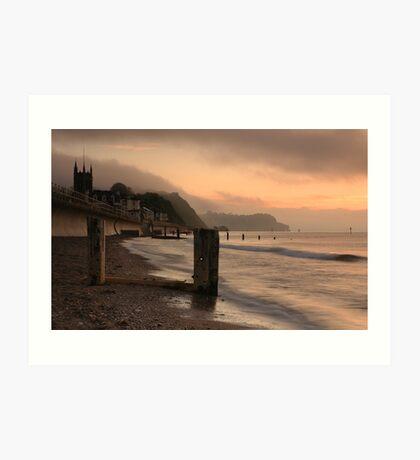 Pastel sunrise - Teignmouth beach, Devon Art Print
