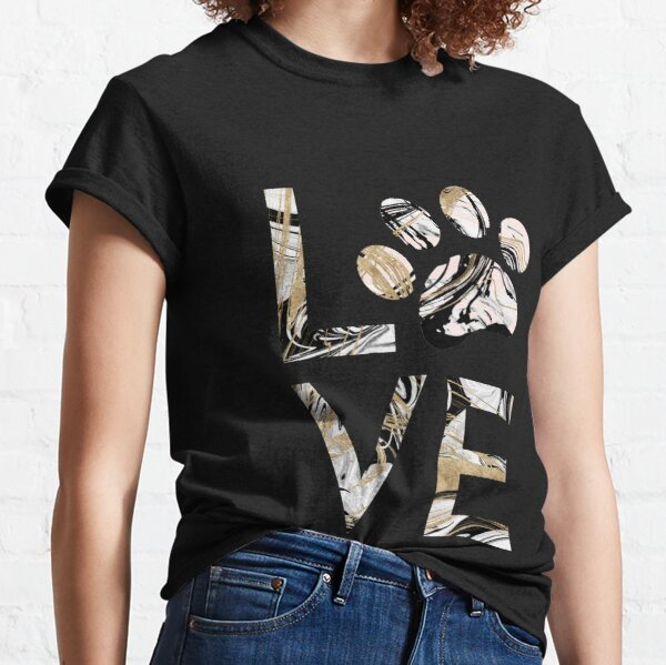 Dog Lover | Love My Dog Paw Print Black Gold Pink Marble Classic T-Shirt