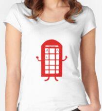 Cartoon Telephone Box Women's Fitted Scoop T-Shirt