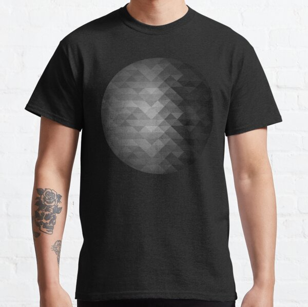 Grayscale triangle geometric squares pattern Classic T-Shirt