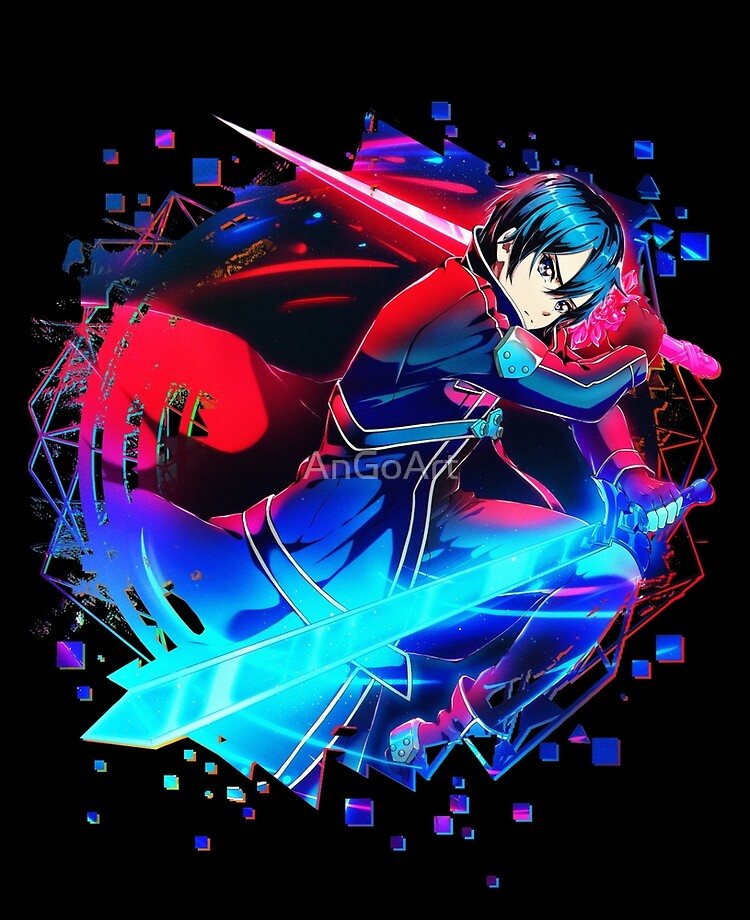 A Cool Anime Character With Blue And Red Swords Ipad Case Skin By Angoart Redbubble