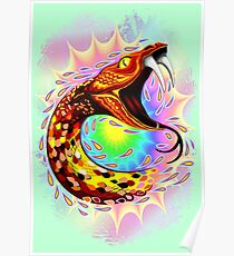 Snake Attack Psychedelic Surreal Art Poster