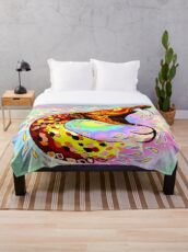Snake Attack Psychedelic Surreal Art Throw Blanket
