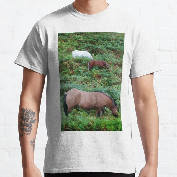 Horses grazing in the Scottish Highlands Classic T-Shirt