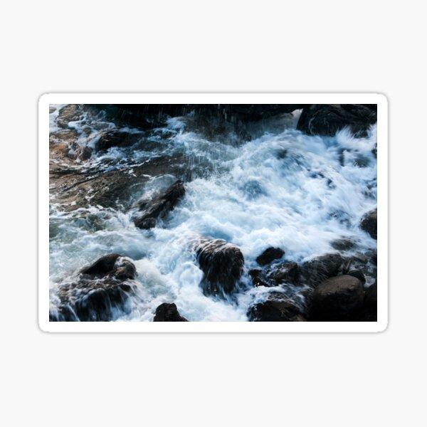 A breaking surge of sea water over rocks, Skye Sticker