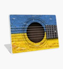 Old Vintage Acoustic Guitar with Ukrainian Flag Laptop Skin