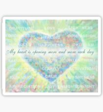 Inspirational Subliminal Art - Heart Chakra Opening Blue - Affirmations Sticker