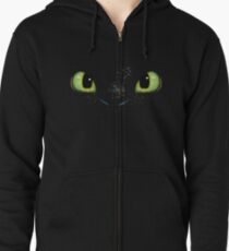 Toothless fiery eyes Zipped Hoodie
