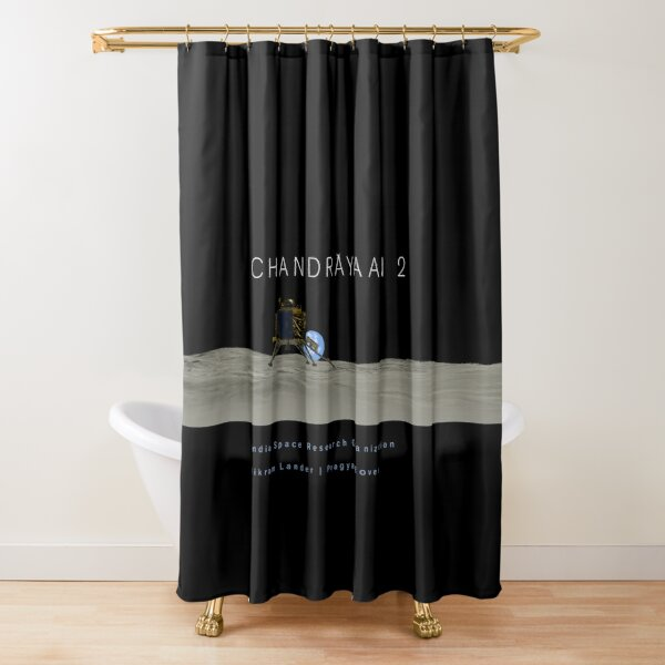 Chandrayaan 2 Lunar Lander and Rover Shower Curtain