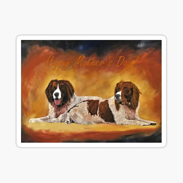 Spaniel Friends Mother's Day Card Sticker