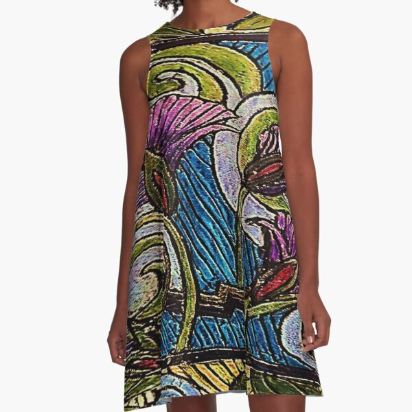 Olive and Asters A-Line Dress