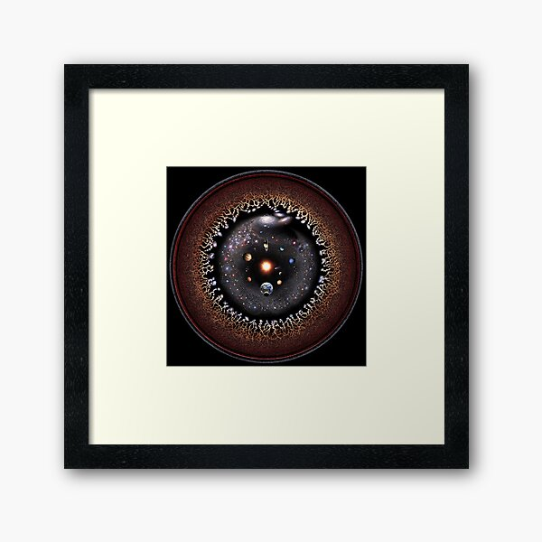 Observable Universe Logarithmic Illustration (2019 Version!) Framed Art Print
