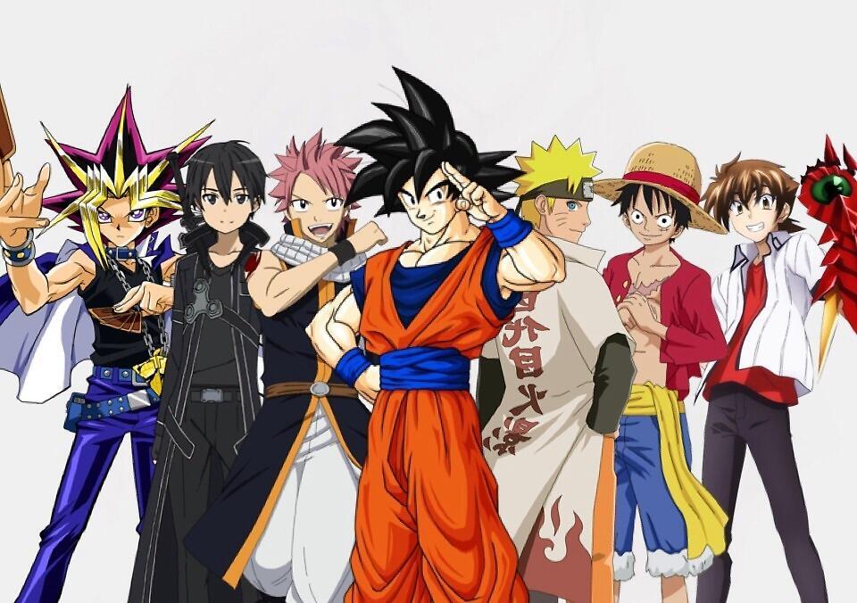 """""""Goku Naruto Luffy issei natsu Kirito Yugi"""" by Arrow101127 ..."""