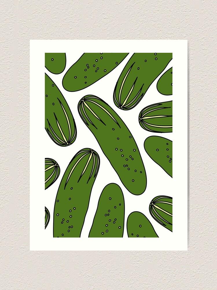 Alternate view of Green Pickles Cucumbers Art Print