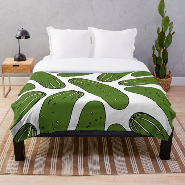 Green Pickles Cucumbers Throw Blanket