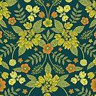 Yellow, Green, Orange & Teal Floral Pattern by somecallmebeth