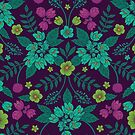Purple, Teal, Magenta, Green & Yellow Floral Pattern by somecallmebeth