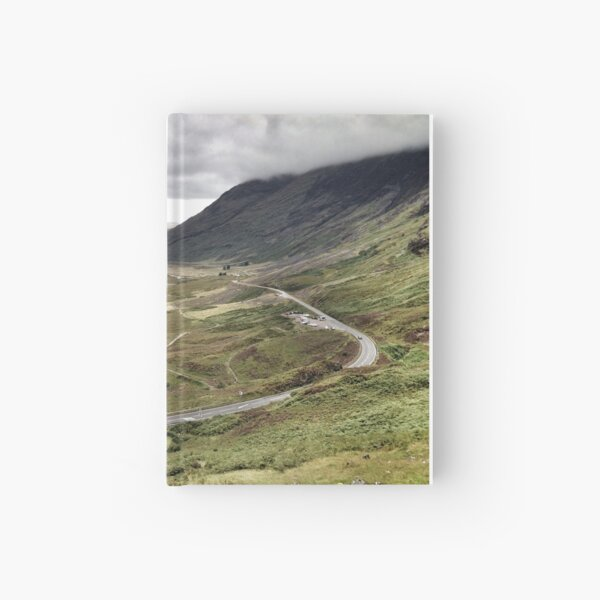 The A82 road sweeps through Glencoe, Highlands of Scotland Hardcover Journal
