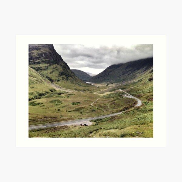 The A82 road sweeps through Glencoe, Highlands of Scotland Art Print