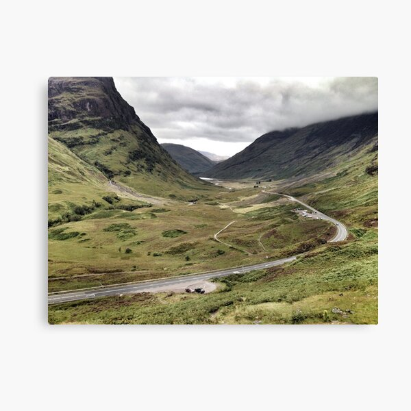 The A82 road sweeps through Glencoe, Highlands of Scotland Canvas Print