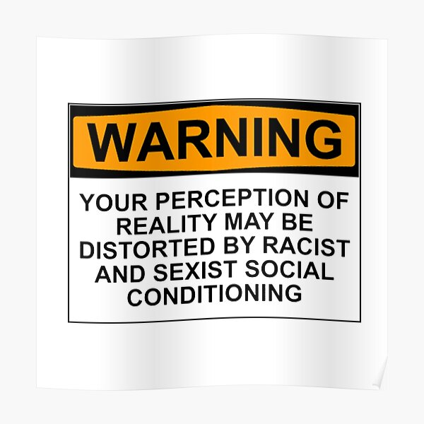 WARNING: YOUR PERCEPTION OF REALITY MAY BE DISTORTED BY RACIST AND SEXIST SOCIAL CONDITIONING Poster