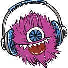 Fluffy One Eyed Music Monster by StickaBomb