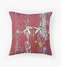 Longicordia Orchid with Red Painted Wall, native orchids of Western Australia. Floor Pillow