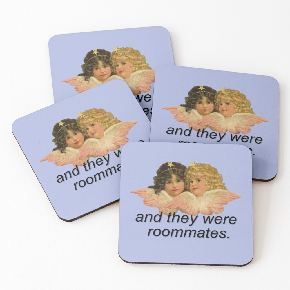 And They Were Roommates Meme with Angels Coasters (Set of 4)