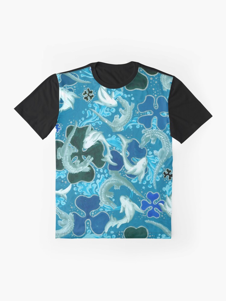 Alternate view of Black, Blue, light blue, pattern, sharks, crocodiles Graphic T-Shirt