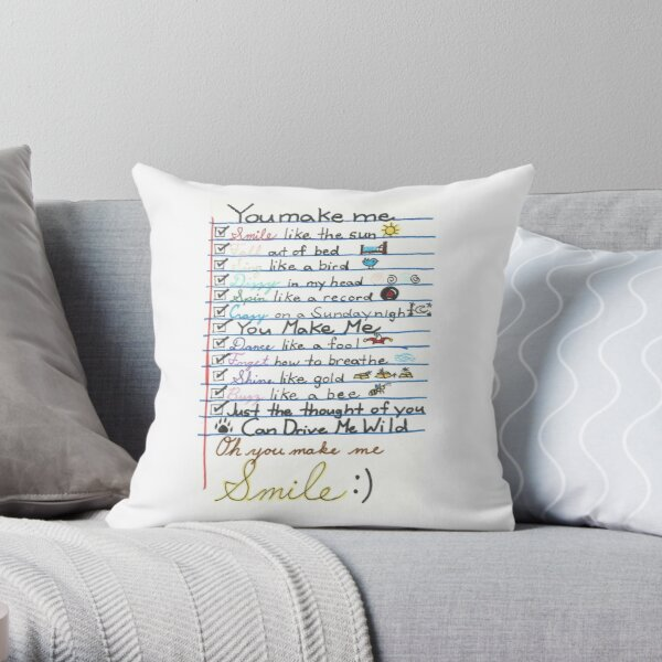 You Make Me Smile, song lyrics by Uncle Kracker Throw Pillow