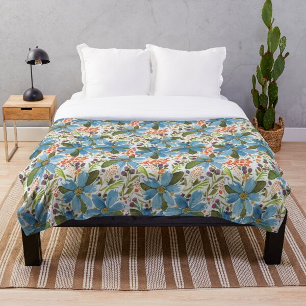 Floral Delights in Blue Throw Blanket