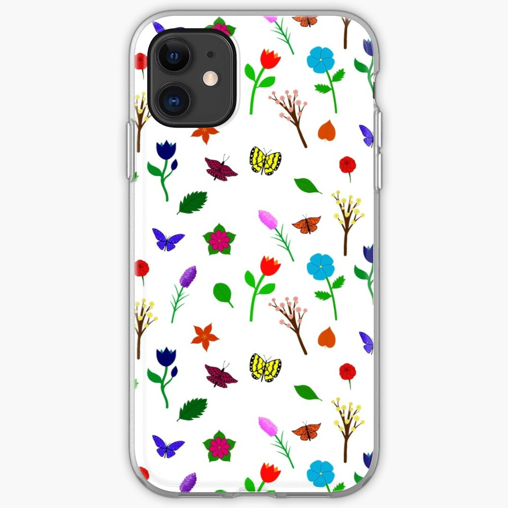 Scattered Flowers and Butterflies, no background iPhone Case & Cover
