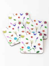 Scattered Flowers and Butterflies, no background Coasters