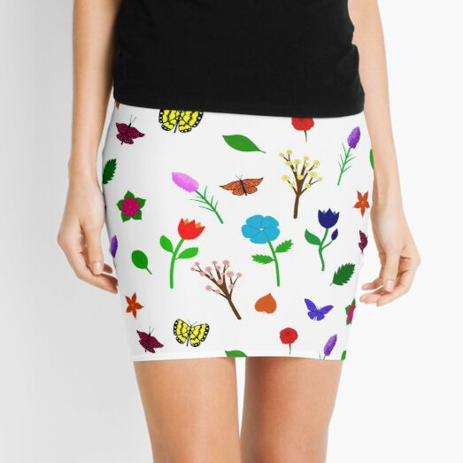 Scattered Flowers and Butterflies, no background Mini Skirt