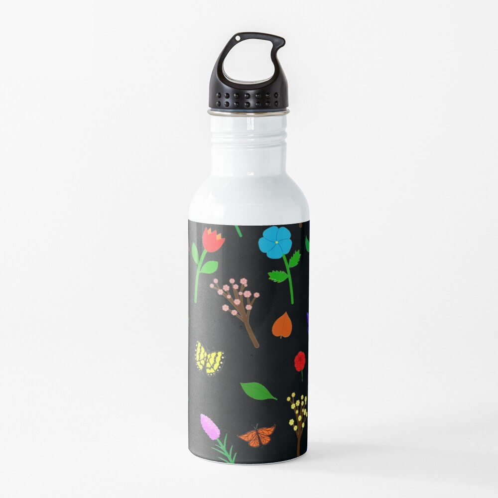 Scattered Flowers and Butterflies, no background Water Bottle